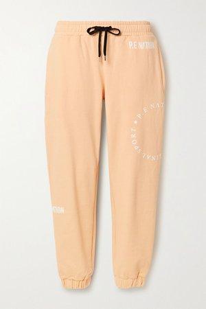 Field Goal Flocked Organic Cotton-jersey Track Pants - Pastel orange