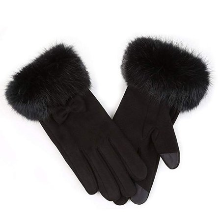 APAS Touchscreen Leather Gloves With Rabbit Fur Cuff
