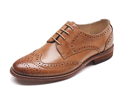 U-lite Brown Perforated Lace-up Wingtip Leather Flat Oxfords Vintage Oxford shoe Women 8 br - FrenzyStyle