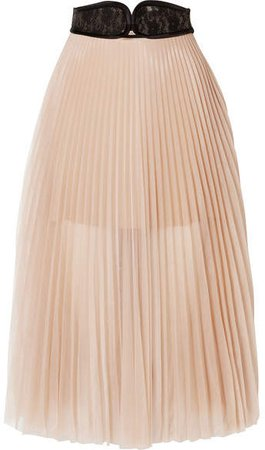 Lace-trimmed Pleated Chiffon Skirt - Beige