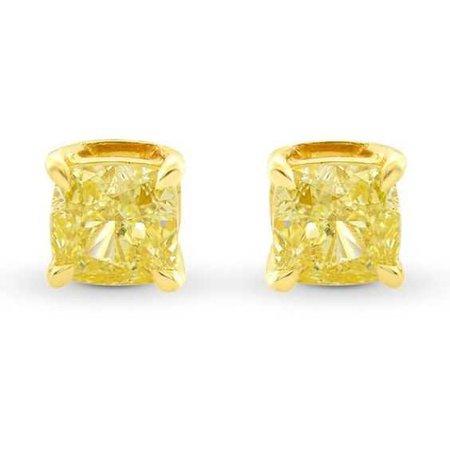Fancy Yellow Cushion Diamond Stud Earrings