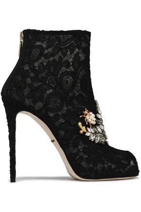 Embellished lace ankle boots | DOLCE & GABBANA | Sale up to 70% off | THE OUTNET