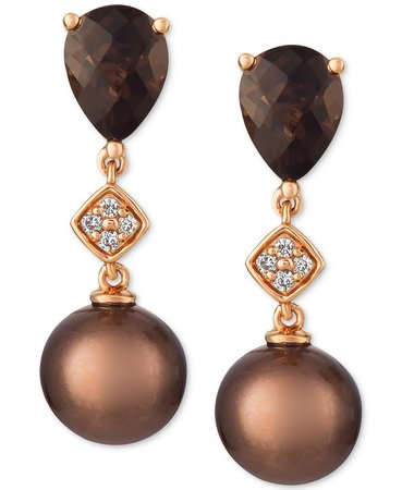 Le Vian 14k Rose Gold Cultured Brown Tahitian Pearl, Chocolate Quartz, and Diamond Accent Drop Earrings
