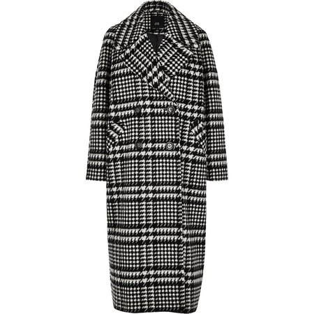 Black check print oversized longline coat | River Island