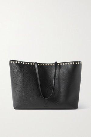 Garavani Rockstud Textured-leather Tote - Black