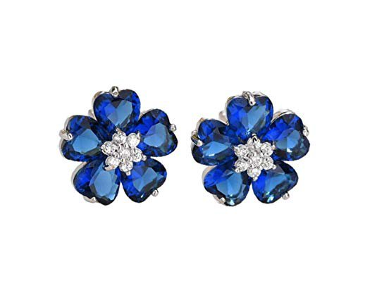 Amazon.com: YHMM Hypoallergenic Flower Stud Earrings for Women Girls, 18K White Gold Plated 10 Pcs Heart Shape CZ Daisy Studs Clear/Blue/Red 12.8mm.(1 Pair Blue): Gateway