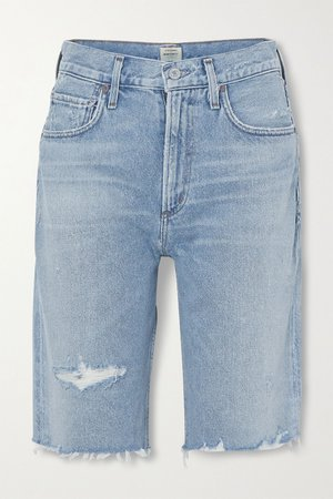 Mid denim Libby distressed denim shorts | Citizens of Humanity | NET-A-PORTER