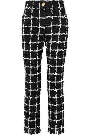 Balmain Frayed checked tweed straight-leg pants