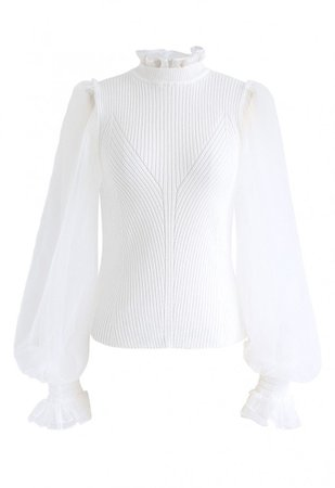 Sheer Bubble Sleeves Ribbed Knit Top in White - TOPS - Retro, Indie and Unique Fashion