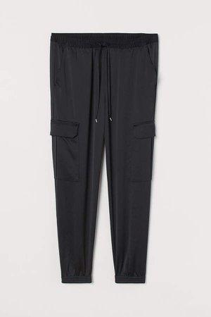 H&M+ Satin Cargo Pants - Black