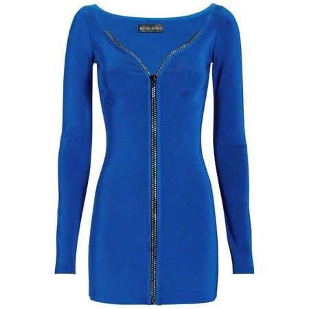 David Koma Crystal-Embellished Zip Mini Dress For Sale at 1stDibs