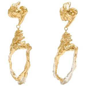 Loveness Lee Cephas Gold and Silver Textured Dangle Drop Earrings