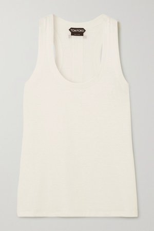 Slub Stretch-linen Tank - White