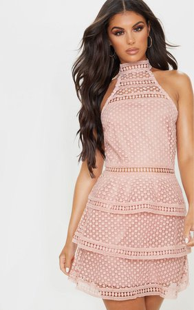 Dusty Pink Lace Panel Tiered Bodycon Dress | PrettyLittleThing