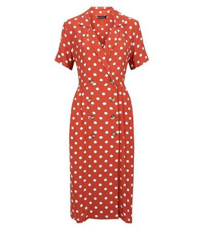 Orange Spot Print Double Breasted Midi Dress | New Look