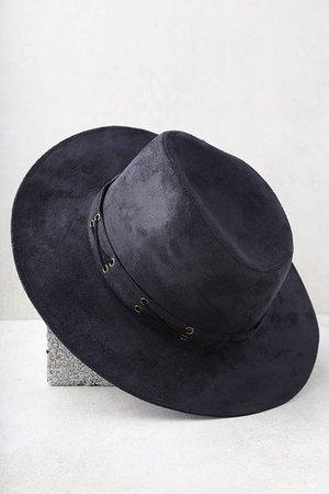 Cool Black Hat - Vegan Suede Hat - Fedora Hat - $22.00
