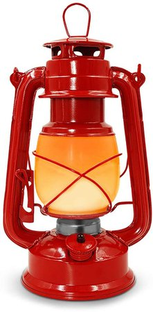 Luwint Flickering Flame Vintage Lantern - Electric Hanging Lantern with Batteries(4 AA Battery Included) Operated for Camping Hiking Outages Home Decor (Red Metal): Amazon.ca: Patio, Lawn & Garden