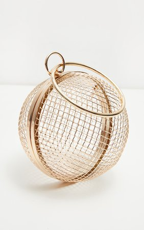 Gold Caged Sphere Clutch | Accessories | PrettyLittleThing