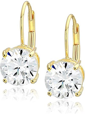 Yellow Gold Plated Sterling Silver Round Cut Cubic Zirconia Leverback Earrings (5mm): Jewelry