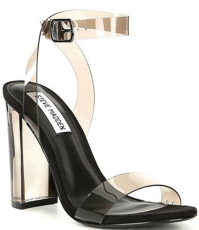 Steve Madden Camille Lucite Clear Block Heel Dress Sandals | Dillard's