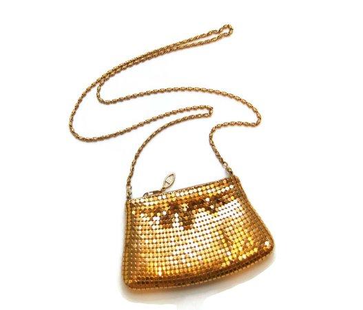 Vintage Gold Mesh Evening Bag Mini Cross Body Purse Clutch