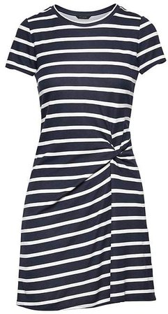 Stripe Soft Ponte Twist-Front Dress