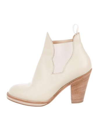 Acne Studios Leather Round-Toe Ankle Boots - Shoes - ACN45413 | The RealReal