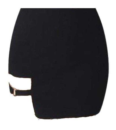 black korean ring thigh belt skirt