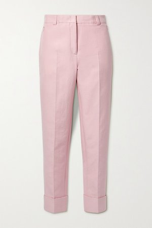 Maxima Cropped Cotton-blend Twill Tapered Pants - Baby pink