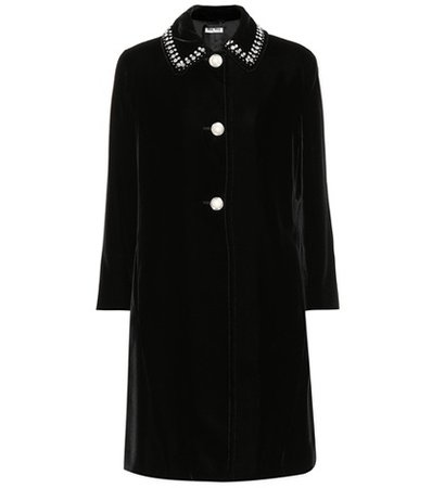 Embellished velvet coat
