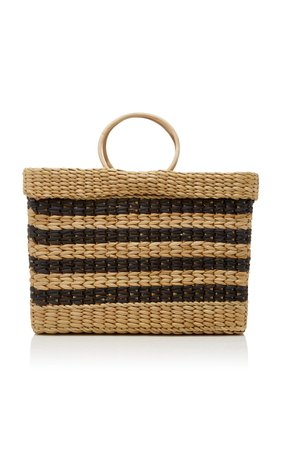 Poolside The Lizzy Striped Reed Tote