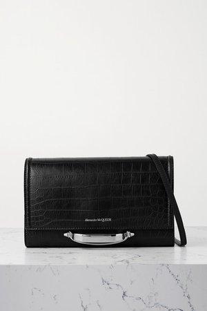 The Story Croc-effect Leather Shoulder Bag - Black
