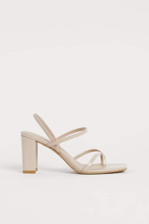 Block-heeled Sandals - Beige