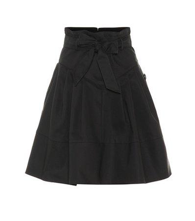 Cotton-blend tie-waist skirt