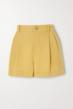 Pleated Crepe Shorts - Yellow