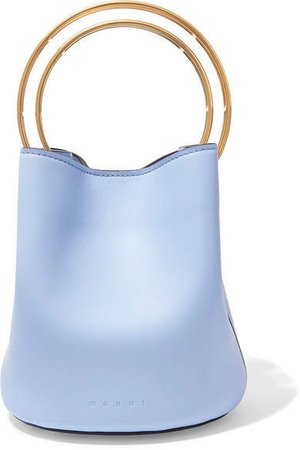 Pannier Small Leather Bucket Bag - Blue