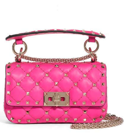 Valentino Garavani Mini Spike It Rockstud Neon Leather Shoulder Bag | Nordstrom