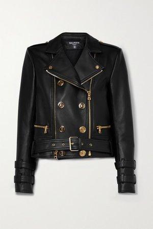 Button-embellished Leather Biker Jacket - Black