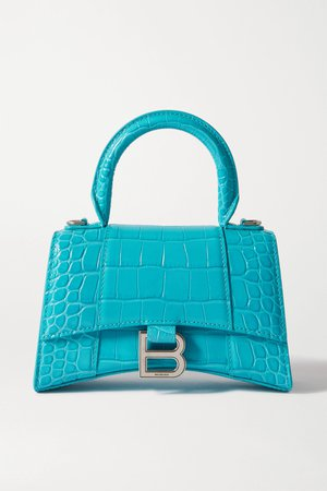 Turquoise Hourglass XS croc-effect leather tote | Balenciaga | NET-A-PORTER