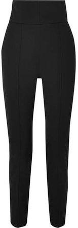 Wool-blend Gabardine Slim-leg Pants - Black