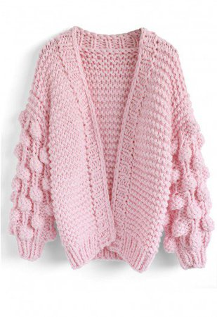 Pom Pom Sleeves Chunky Cardigan in Candy Pink