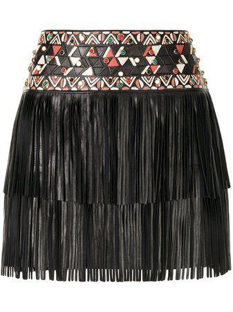 Valentino Pre-Owned Fringed Leather Mini Skirt - Farfetch