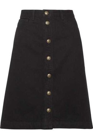 A.P.C. Therese Black Button Down Skirt