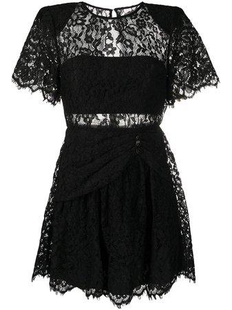 self-portrait black lace mini dress