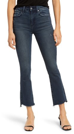 Lennon High Waist Raw Hem Crop Flare Jeans
