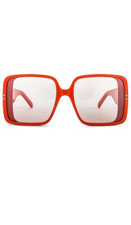 Courreges The Panda Square in Shiny Bright Orange & Grey Flash | REVOLVE