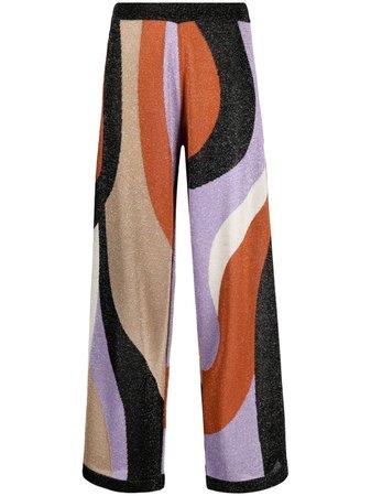 LIU JO colour-blocked lurex wide-leg trousers - FARFETCH