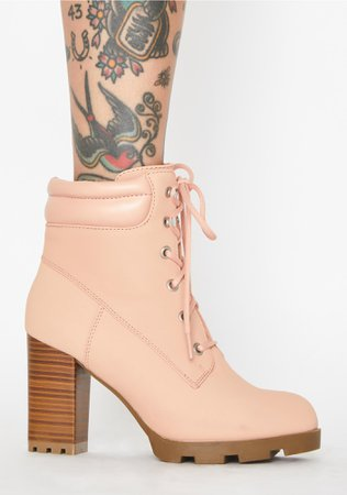 Lace Up Booties Pink | Dolls Kill