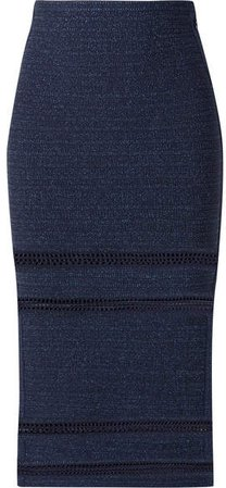 Crochet-trimmed Metallic Bandage Midi Skirt - Navy
