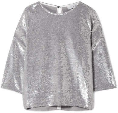 Naphe Oversized Sequined Cotton T-shirt - Silver